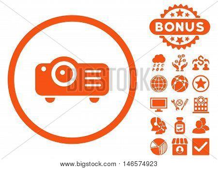 Projector icon with bonus. Vector illustration style is flat iconic symbols, orange color, white background.