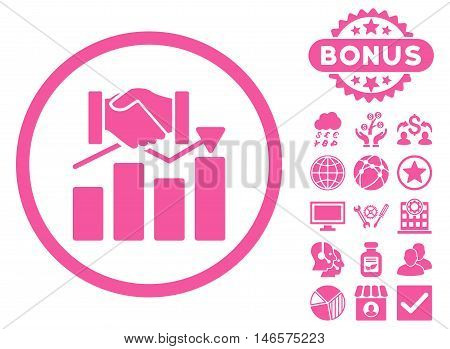 Acquisition Graph icon with bonus. Vector illustration style is flat iconic symbols, pink color, white background.