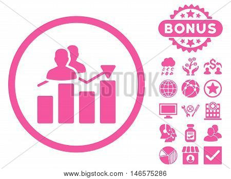 Audience Graph icon with bonus. Vector illustration style is flat iconic symbols, pink color, white background.