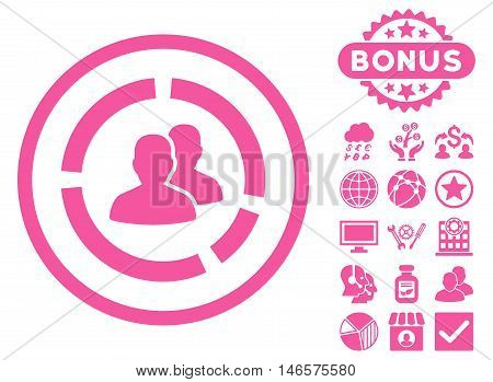 Demography Diagram icon with bonus. Vector illustration style is flat iconic symbols, pink color, white background.
