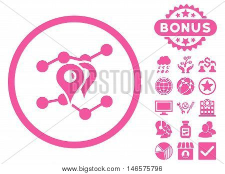 Geo Trends icon with bonus. Vector illustration style is flat iconic symbols, pink color, white background.