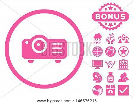 Projector icon with bonus. Vector illustration style is flat iconic symbols, pink color, white background.