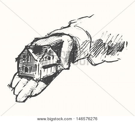 House in human hands on a white background, hand drawn vector illustration, sketch