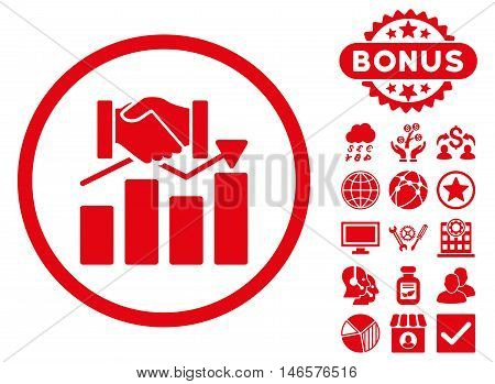 Acquisition Graph icon with bonus. Vector illustration style is flat iconic symbols, red color, white background.