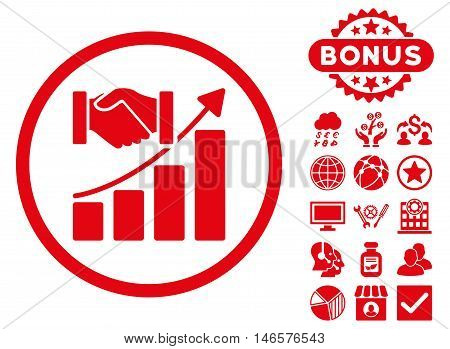 Acquisition Growth icon with bonus. Vector illustration style is flat iconic symbols, red color, white background.