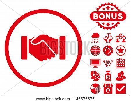 Acquisition Handshake icon with bonus. Vector illustration style is flat iconic symbols, red color, white background.