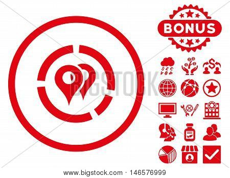 Geo Diagram icon with bonus. Vector illustration style is flat iconic symbols, red color, white background.