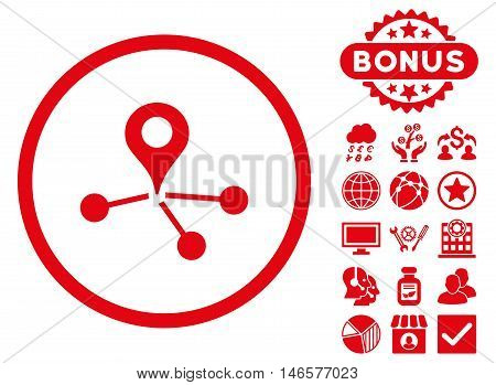 Geo Network icon with bonus. Vector illustration style is flat iconic symbols, red color, white background.