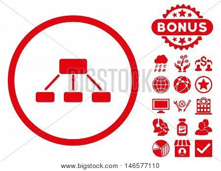Hierarchy icon with bonus. Vector illustration style is flat iconic symbols, red color, white background.