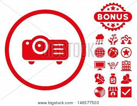 Projector icon with bonus. Vector illustration style is flat iconic symbols, red color, white background.