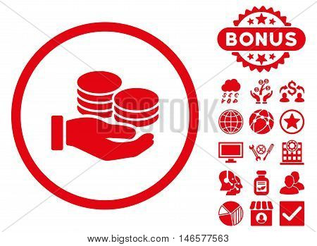 Salary Coins icon with bonus. Vector illustration style is flat iconic symbols, red color, white background.