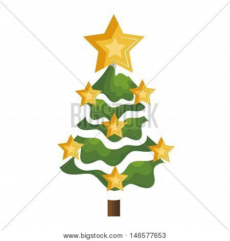 pine tall tree plant with traditional star. christmas decoration symbol. vector illustration