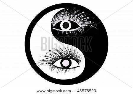 Feng Shui symbol with eyes in balck and white