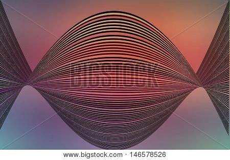 Op Art colorful round shape of lines