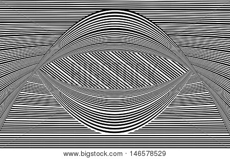 Op Art black and white lines curved
