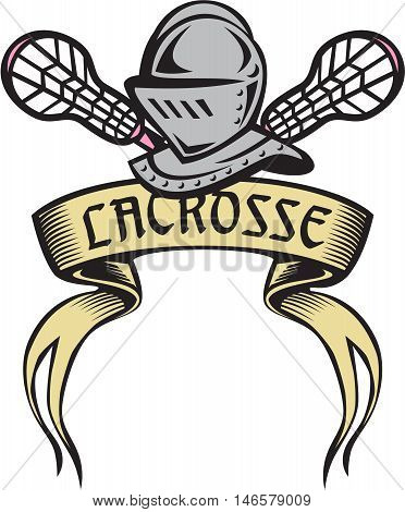 Illustration of a knight armor helmet with crossed lacrosse stick set on isolated white background the word text Lacrosse written in ribbon.