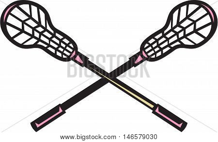 Illustration of a crossed lacrosse stick set on isolated white background done in retro woodcut style.