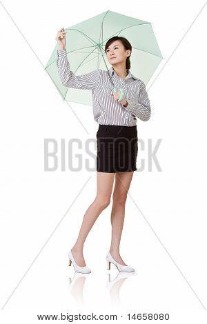 Business Woman Holding Umbrella