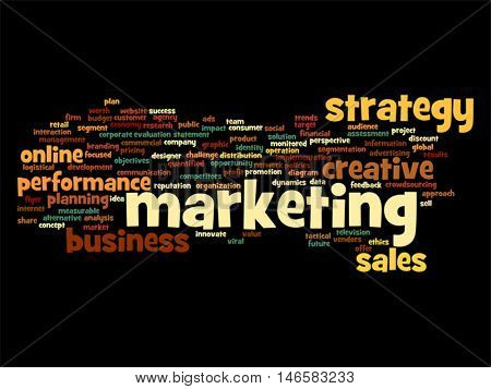 Vector concept or conceptual abstract word cloud on black background as metaphor for business, trend, media, focus, market, value, product, advertising or customer. Also for corporate wordcloud