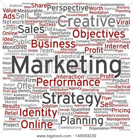 Vector concept or conceptual business marketing square word cloud isolated on background metaphor to advertising, strategy, promotion, branding, value, performance, planning, challenge or development