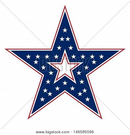 American star sign. Blue and red icon isolated on white background. Patriotic object. Vintage graphics. National design element. Symbol of 4th july patriotism democracy. Vector illustration