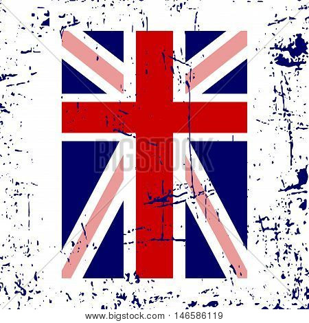British flag t shirt typography graphics. Blue red white national design isolated on white background. Symbol of England Britain United Kingdom. Template apparel card poster Vector illustration