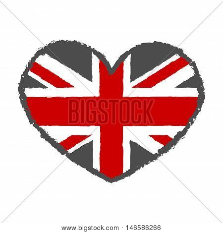 British flag t shirt typography graphics. Red and gray design with heart isolated on white background. Symbol of England Britain United Kingdom. Template apparel card poster. Vector illustration