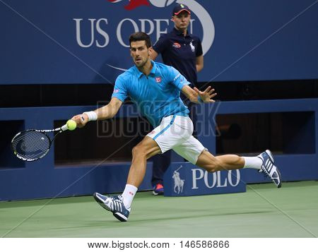 NEW YORK- SEPTEMBER 3, 2016: Twelve times Grand Slam champion Novak Djokovic of Serbia in action during his quarterfinal match at US Open 2016 at Billie Jean King National Tennis Center in New York