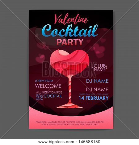 Disco Cocktail Party Poster. 3D Cocktail Design. Happy Valentine`s Day