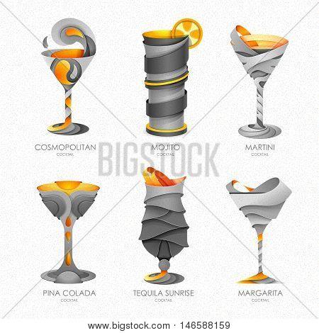 Set Of 3D Cocktails Design.vector Icon