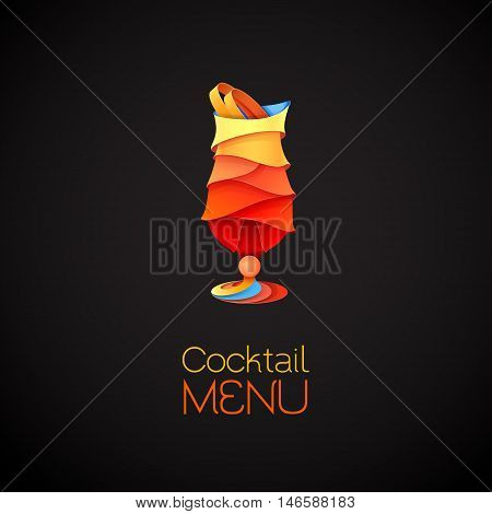 3D Cocktail Tequila Sunrise Design.vector Icon. Menu Design
