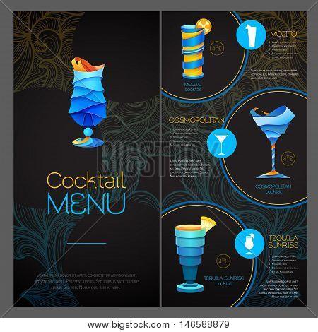 3D Cocktail  Design. Cocktail Menu Design