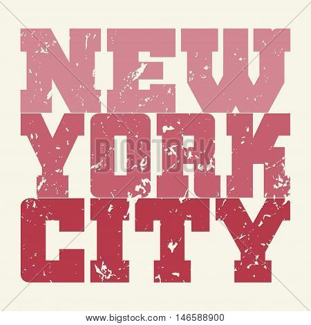 T shirt typography graphics New York. Athletic style NYC. Fashion american stylish print for sports wear. Pink on white emblem. Template for apparel card poster. Symbol big city. Vector illustration