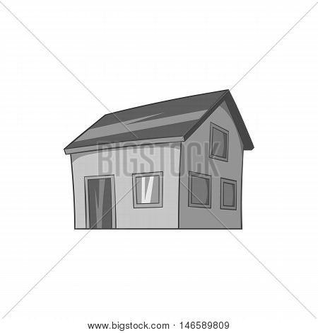 House with attic icon in black monochrome style isolated on white background. Building symbol vector illustration