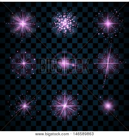Purple shine stars with glitters sparkles icons set. Effect twinkle glare scintillation element sign graphic light. Transparent design elements dark background. Varied template Vector illustration