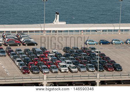 JUNE 18 2011 - BARCELONA SPAIN: Many cars waiting for sale at barcelona's port