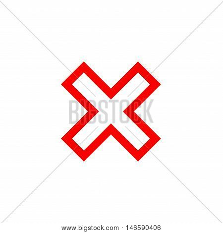 Cross sign element. Red X icon isolated on white background. Simple mark graphic design. Button for vote decision web. Symbol of error check wrong and stop failed. Vector illustration