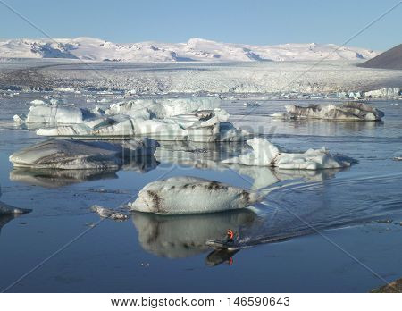 Sailing Amongst the Hugh Icebergs on Jokulsarlon Glacier Lagoon of South Iceland