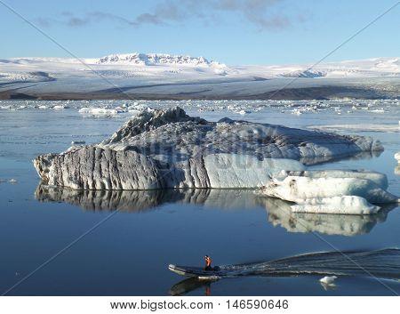 Boating Among the Hugh Icebergs on the Perfect Weather Day, Jokulsarlon Glacier Lagoon, Iceland
