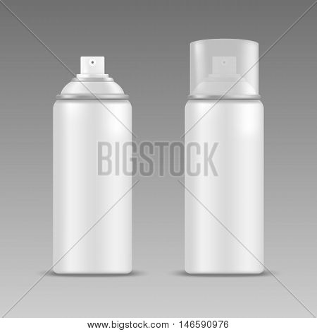 Realistic white blank spray bottles. Mock up, cosmetic package