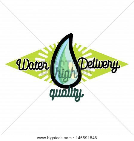 Water delivery firm logo isolated on white background. Vintage simple design concept.