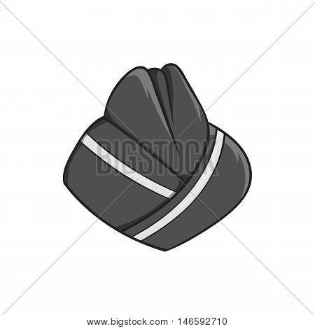 Hat stewardess icon in black monochrome style isolated on white background. Headdress symbol vector illustration