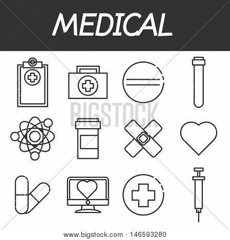 Icons set of medical tools and health care equipment, science research and health treatment service. Modern design style collection. Pharmacy symbol sign vector illustration on white background
