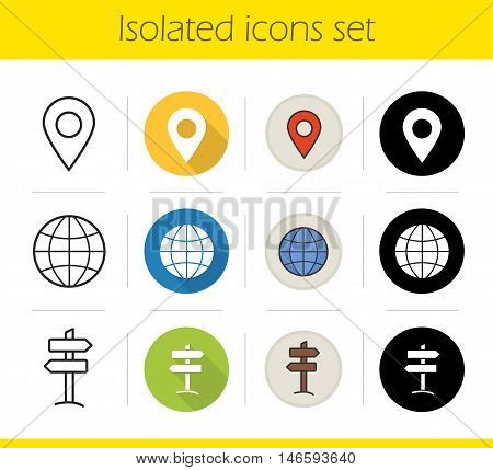 Travel icons set. Flat design, linear, black and color styles. Geolocation mark, globe symbol, wooden way direction, map pinpoint. Tourism isolated vector illustrations