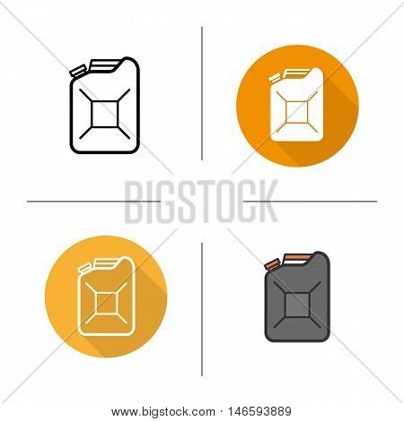 Gasoline canister icon. Flat design, linear and color styles. Petrol jerrycan. Fuel isolated vector illustrations