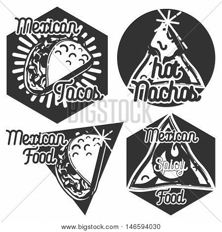 Vintage mexican food emblems, logoes, lables. Vector illustration EPS 10