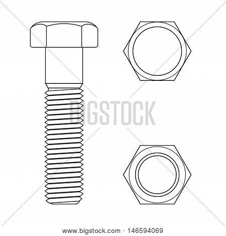 Screw bolt. Vector illustration isolated on white background