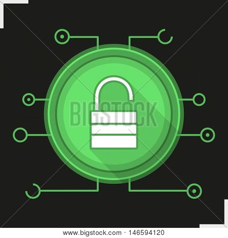 Unlock flat design long shadow digital icon. Access granted. Open padlock in microchip pathways. Cyber security. Vector silhouette symbol