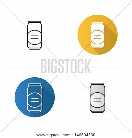Beer can icon. Flat design, linear and color styles. Aluminum can. Isolated vector illustrations