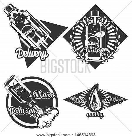 Vintage Water delivery emblems, service logoes, lables. Vector illustration EPS 10